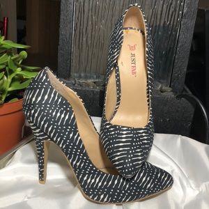 JustFab Veronika Sz 7.5 Black White Heels EUC